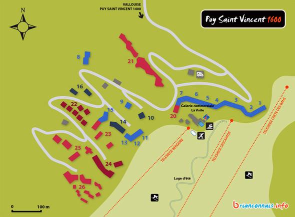Plan de la station de Puy Saint Vincent 1600
