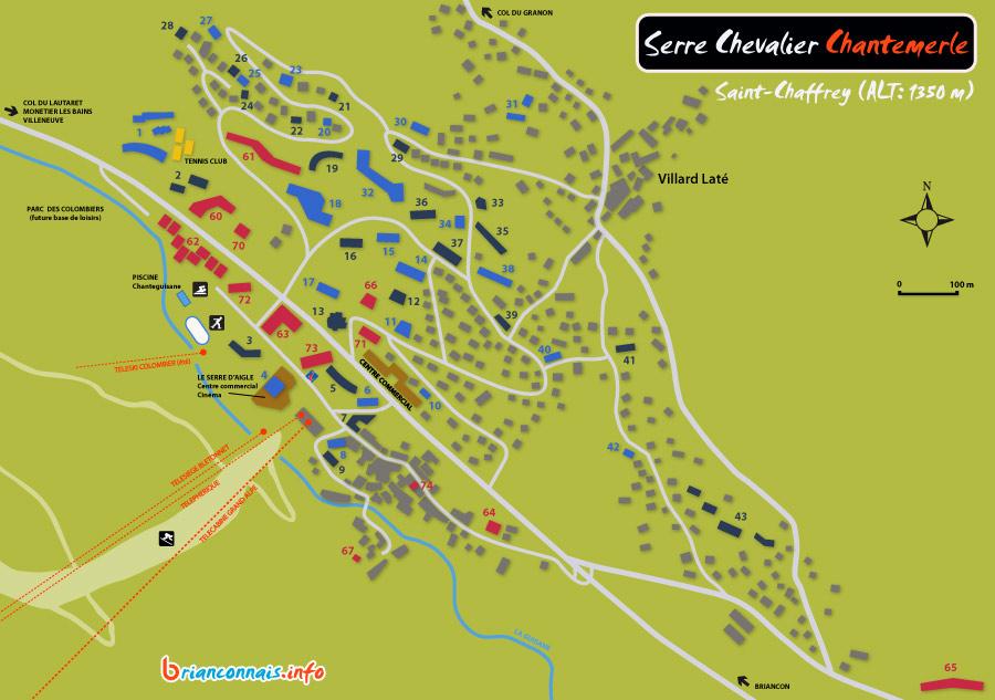 Plan de la station de Serre Chevalier  Chantemerle St Chaffrey