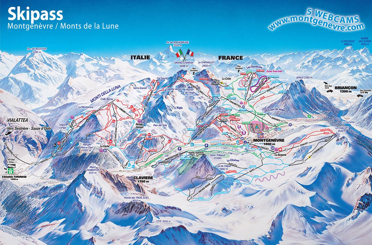 Plan des pistes Montgenevre 2010/2011