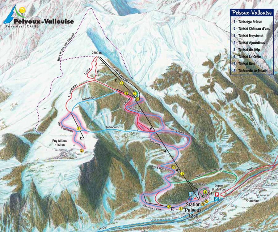 plan pistes ski pelvoux vallouise