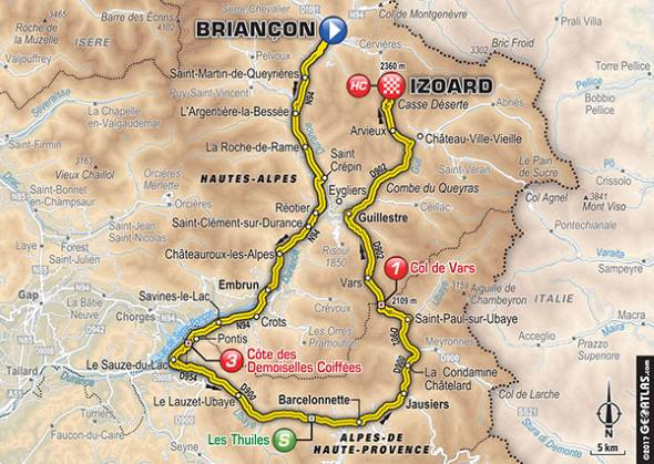 carte étape briancon col izoard tour de france 2017