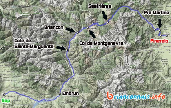 carte étape Gap-Pinerolo 20 juillet 2011