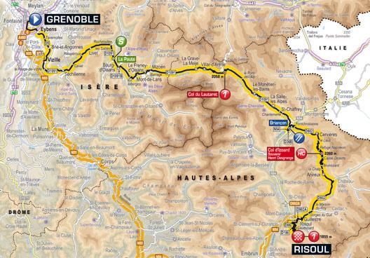 carte parcours etape grenoble - risoul tour de france 2014
