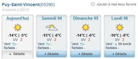météo puy saint vincent février 2012