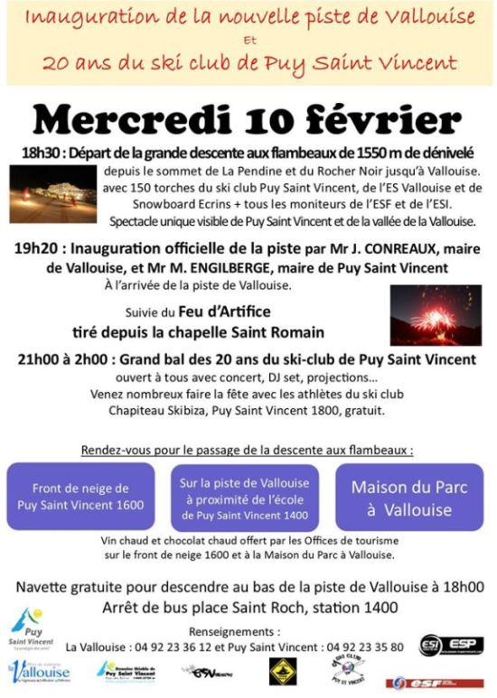 La nouvelle piste de ski alpin du domaine de Puy Saint Vincent qui descend jusqu'à Vallouise sera inaugurée mercredi 10 février 2016.