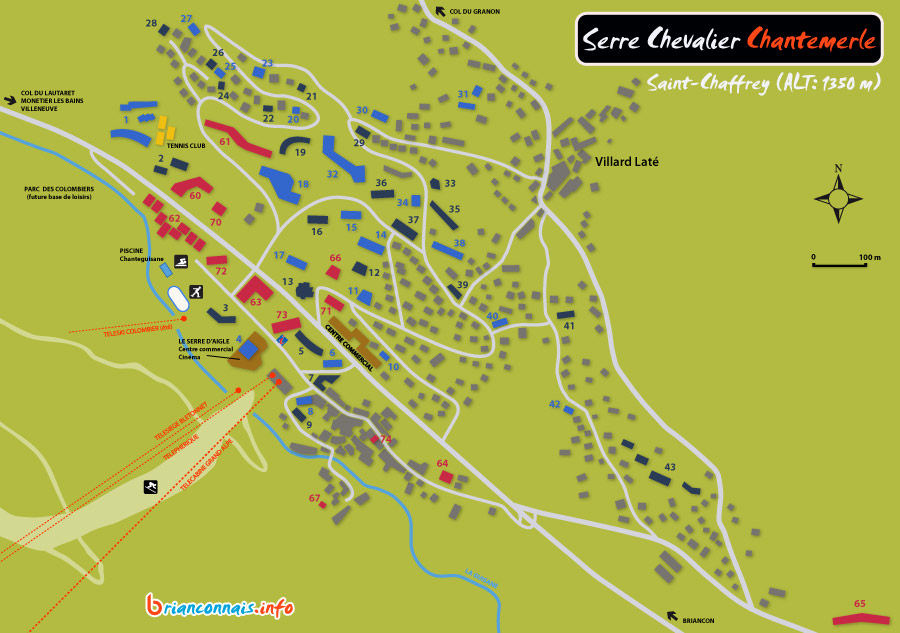 Plan de la station de Serre Chevalier  Chantemerle St Chaffrey