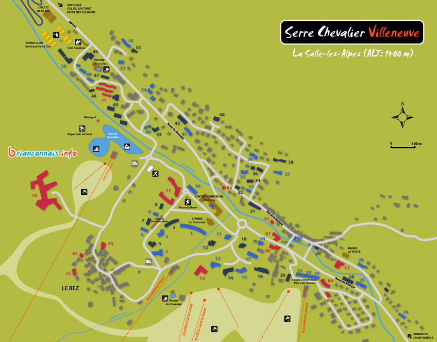 Plan de la station de Serre Chevalier Villeneuve