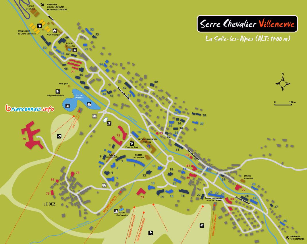 Plan Serre Chevalier Villeneuve 1400 Station Carte La Salle Les