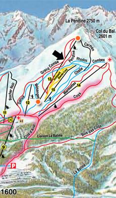 plan de situation du télésiège de la pendine à puy saint vincent