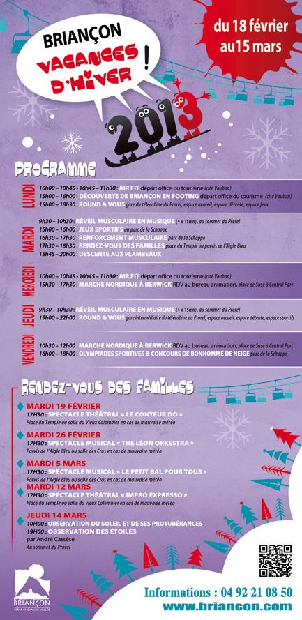 programme des animations à briançon pendant les vacances d'hiver 2013