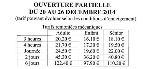 tarifs Puy Saint Vincent decembre 2014