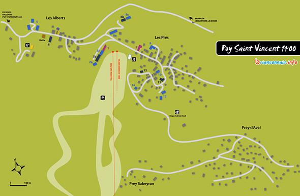 Plan de la station de Puy Saint Vincent 1400